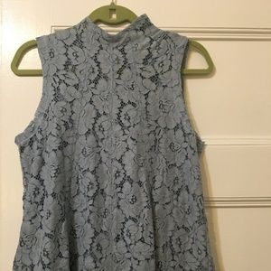 Light blue Anthropologie Maeve lace overlay top